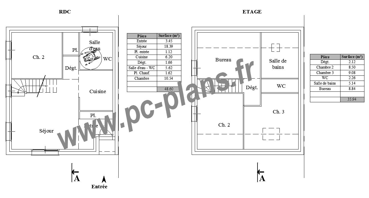 Pc plans catalogue nos plans de maison - Plan de maison jumelee ...