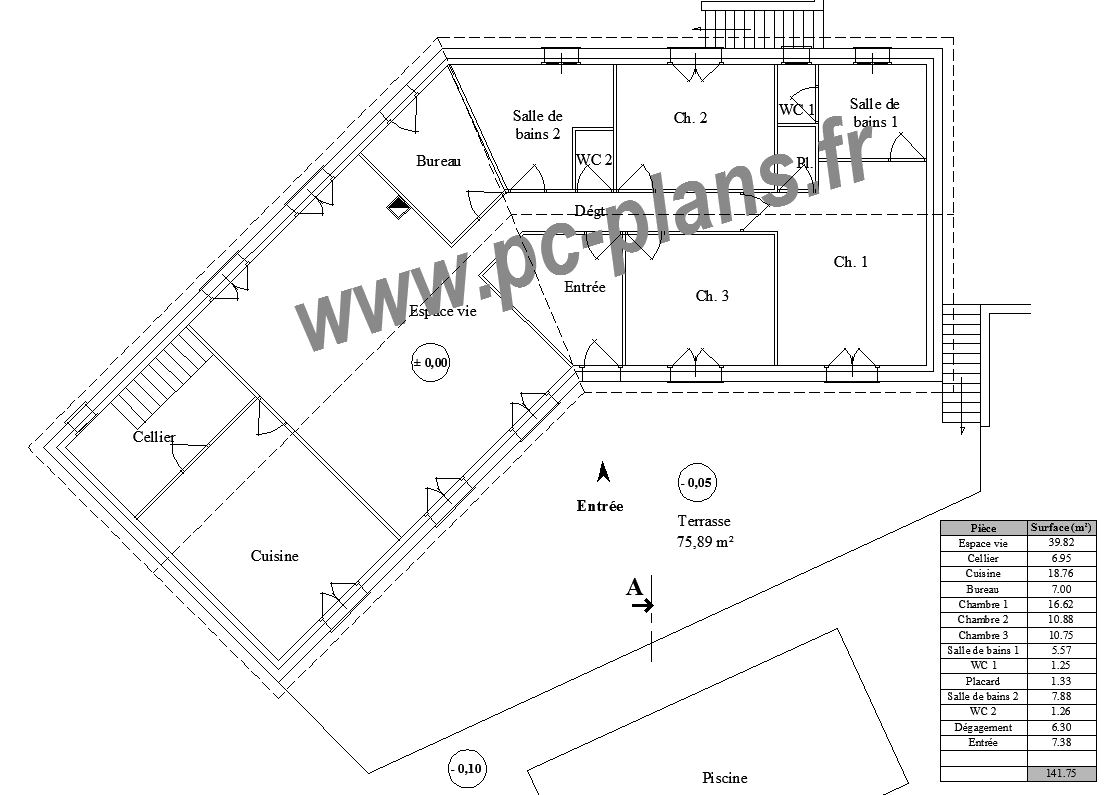 Pc plans catalogue nos plans de maison - Plan de maison plain pied en v ...